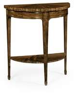 495861-DBW Jonathan Charles Fine Furniture JC Edited - Cambridge Small Demilune Daniella & Burl Walnut Console Table