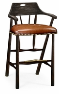 495887-BS-PDA Jonathan Charles Fine Furniture JC Edited - Casually Country Smokers Style Dark Ale Bar Stool With Dark Antique Chestnut Leather