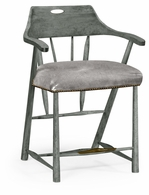 495887-CS-ADG Jonathan Charles Fine Furniture JC Edited - Casually Country Smokers Style Antique Dark Grey Counter Stool With Grey Leather
