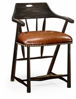 495887-CS-PDA Jonathan Charles Fine Furniture JC Edited - Casually Country Smokers Style Dark Ale Counter Stool With Dark Antique Chestnut Leather