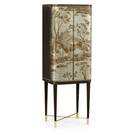 495893-CHW-BAE Jonathan Charles Contemporary/Modern JC Modern - Fusion Collection Chinoiserie Style Charcoal & Antique Etched Brass Drinks Cabinet