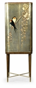 495893-WRC-LGF Jonathan Charles Curated Handpainted Birds On Rich Walnut & Light Gold Foil Drinks Cabinet