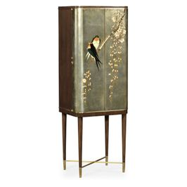 495893-WRC-LGF Jonathan Charles Traditional Curated Collection Handpainted Birds On Rich Walnut & Light Gold Foil Drinks Cabinet