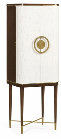 495893-WRC-PCC Jonathan Charles Fine Furniture JC Modern - Eclectic Walnut & Crackle Cloth Lacquered Drinks Cabinet