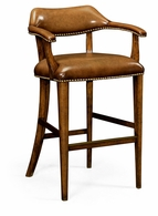 495903-BS-WAL-L002 Jonathan Charles Windsor Walnut Library Bar Stool, Upholstered In Antique Chestnut Leather