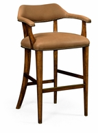 495903-BS-WAL-L028 Jonathan Charles Windsor Walnut Library Bar Stool, Upholstered In Light Brown Leather