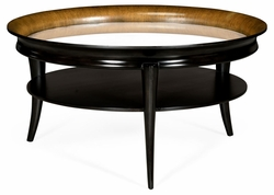 495912-WSW Jonathan Charles Fine Furniture JC Modern - Cosmo Circular Charcoal & Walnut Cocktail Table With Antique Mirror Top