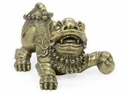 495937-BAH Jonathan Charles Fine Furniture JC Modern - Indochine Antique Brass Foo Dog