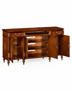 499416 Jonathan Charles Duchess Burl And Mother Of Pearl Inlaid Glazed Display And Entertainment Cabinet (Wood Door) with Burr Walnut Light - Nc High Lustre On Veneer Finish