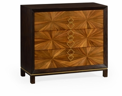 500008-WLG Jonathan Charles Fine Furniture JC Modern - Eclectic Bookmatched Walnut Chest Of Drawers