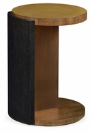 500060-LBO Jonathan Charles Fine Furniture JC Modern - Langkawi Round Oak With Large Oyster Side Table