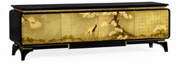 500171-AGF-BLG Jonathan Charles Fine Furniture JC Modern - Indochine Modern Asian Smoky Black & Gold Entertainment Cabinet