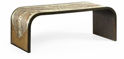 500176-BAE-ENO Jonathan Charles Fine Furniture JC Modern - Fusion Curved Chinoiserie Style Antique Etched Brass & Ebonised Oak Coffee Table