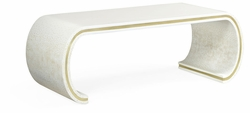 500177-EA008 Jonathan Charles Fine Furniture JC Modern - Indochine Curved Edges Ivory Eggshell Coffee Table