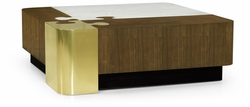 500178-WAT Jonathan Charles Fine Furniture JC Modern - Fusion Rounded Square Autumn Walnut, Brass & Marble Puzzle Coffee Table