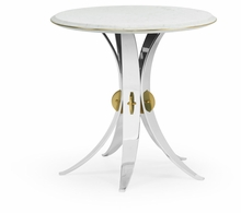 500182-STS-M012 Jonathan Charles Fine Furniture JC Modern - Fusion Round Stainless Steel End Table With Honed White Carrara Marble Top