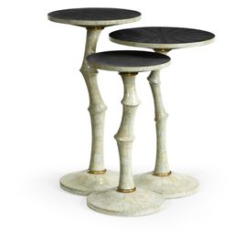 500187-EC002 Jonathan Charles Contemporary/Modern JC Modern - Eclectic Collection Set Of Three Bamboo Style Bone Eggshell & Cerused Oak Nesting Tables