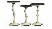 500187-EC002 Jonathan Charles Fine Furniture JC Modern - Eclectic Set Of Three Bamboo Style Bone Eggshell & Cerused Oak Nesting Tables