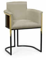 500192-HB-LBE-F001 Jonathan Charles Fine Furniture JC Modern - Fusion High Back Black Eucalyptus & Brass Tub Dining Chair, Upholstered In Mazo