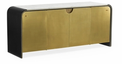 500193-ENO-M025 Jonathan Charles Fine Furniture JC Modern - Fusion Curved Ebonised Oak & Brass Sideboard With White Calcutta Marble Top