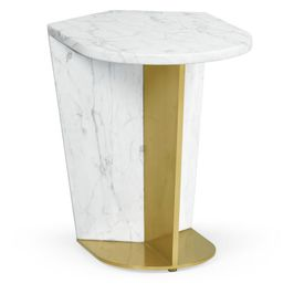 500194-SML-M025 Jonathan Charles Contemporary/Modern JC Modern - Fusion Collection Small White Calcutta Marble & Brass End Table