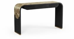 500208-BAE-ENO Jonathan Charles Fine Furniture JC Modern - Fusion Curved Chinoiserie Style Antique Etched Brass & Ebonised Oak Console Table