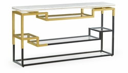500211-B-M025 Jonathan Charles Fine Furniture JC Modern - Fusion Thin Rectangular Multi-Tier Antique Bronze & Brass Console Table With White Calcutta Marble Top