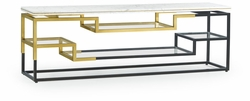 500212-B-M025 Jonathan Charles Fine Furniture JC Modern - Fusion Low Rectangular Multi-Tier Antique Bronze & Brass Console Table With White Calcutta Marble Top