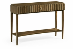 500214-WAT Jonathan Charles Fine Furniture JC Modern - Cosmo Bowed Autumn Walnut Reeded Console Table