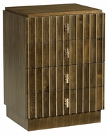 500215-WAT Jonathan Charles Fine Furniture JC Modern - Cosmo Small Autumn Walnut Reeded Chest Of Drawers