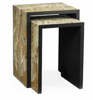 500218-BAE-ENO Jonathan Charles Fine Furniture JC Modern - Fusion Chinoiserie Style Antique Etched Brass & Ebonised Oak Nesting Tables