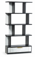 500223-ENO-M025 Jonathan Charles Fine Furniture JC Modern - Fusion Contemporary Four-Tier Ebonised Oak & White Calcutta Marble Etagere With Bottom Drawer