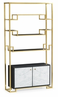 500224-BSG-ENO Jonathan Charles Fine Furniture JC Modern - Fusion Contemporary Antique Satin Gold Brass & Ebonised Oak Etagere With Bottom Marble Cabinet