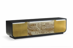 500226-BAE-ENO Jonathan Charles Fine Furniture JC Modern - Fusion Chinoiserie Style Antique Etched Brass & Ebonised Oak Tv & Entertainment Unit
