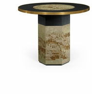 500229-BAE-ENO Jonathan Charles Fine Furniture JC Modern - Fusion Round Chinoiserie Style Antique Etched Brass & Ebonised Oak Centre Table