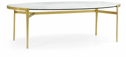500230-BSG-M012 Jonathan Charles Fine Furniture JC Modern - Fusion Oval Antique Satin Gold Brass & Honed White Carrara Marble Dining Table