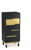 500231-ENO Jonathan Charles Fine Furniture JC Modern - Fusion Contemporary Tall Ebonised Oak & Brass Chest Of Five Drawers