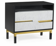 500242-ENO-M025 Jonathan Charles Fine Furniture JC Modern - Fusion Contemporary Ebonised Oak & White Calcutta Marble Bedside Chest Of Drawers