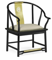 500250-AC-LBG-F001 Jonathan Charles Fine Furniture JC Modern - Indochine Asian Fusion Black Gloss & Brass Dining Armchair, Upholstered In Mazo