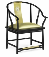 500250-AC-LBG-F011 Jonathan Charles Fine Furniture JC Modern - Indochine Asian Fusion Black Gloss & Brass Dining Armchair, Upholstered In Gold Silk