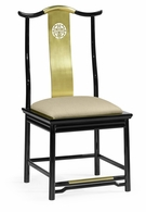500250-SC-LBG-F001 Jonathan Charles Fine Furniture JC Modern - Indochine Asian Fusion Black Gloss & Brass Dining Side Chair, Upholstered In Mazo