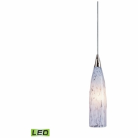 501-1SW-LED ELK Lighting Lungo 1-Light Mini Pendant in Satin Nickel with Snow White Glass - Includes LED Bulb