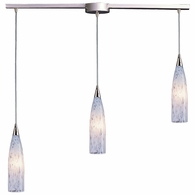 501-3L-SW ELK Lighting Lungo 3-Light Linear Pendant Fixture in Satin Nickel with Snow White Glass