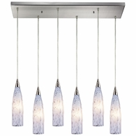 501-6RC-SW ELK Lighting Lungo 6-Light Rectangular Pendant Fixture in Satin Nickel with Snow White Glass