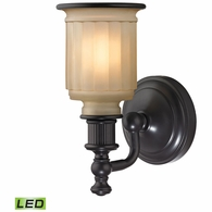 52010/1-LED ELK Lighting Acadia 1-Light Vanity Lamp in Oiled Bronze with Opal Reeded Pressed Glass - Includes LED Bulb