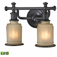 52011/2-LED ELK Lighting Acadia 2-Light Vanity Lamp in Oiled Bronze with Opal Reeded Pressed Glass - Includes LED Bulbs