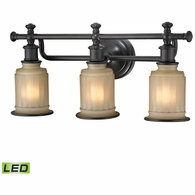 52012/3-LED ELK Lighting Acadia 3-Light Vanity Lamp in Oiled Bronze with Opal Reeded Pressed Glass - Includes LED Bulbs