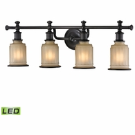 52013/4-LED ELK Lighting Acadia 4-Light Vanity Lamp in Oiled Bronze with Opal Reeded Pressed Glass - Includes LED Bulbs