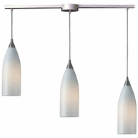522-3L-WS ELK Lighting Cilindro 3-Light Linear Pendant Fixture in Satin Nickel with White Swirl Glass