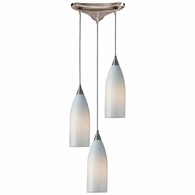 522-3WS ELK Lighting Cilindro 3-Light Triangular Pendant Fixture in Satin Nickel with White Swirl Glass